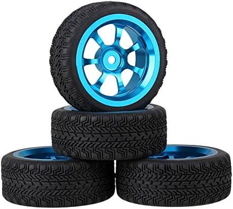 Mxfansブラック65mm 7-spoke高グリップゴムタイヤ+ブルーアルミ合金ホイールリムfor RC 1: 10オンロードレーシング車のセット4