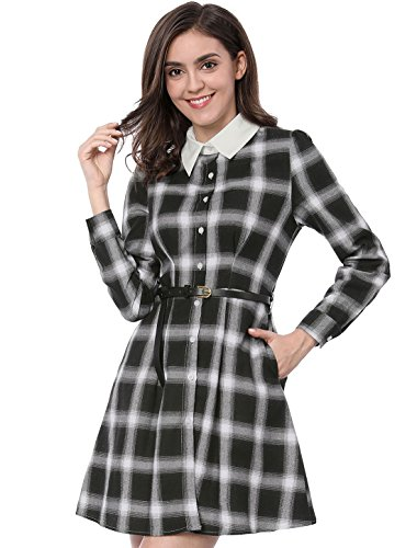 Lady Plaid Belt Sopra Contrast K Knee Allegra Black Col Shirt Dress BqFwa6x