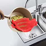 AUOON Strainer with 2 Clip for Veggies Pasta Ground Meat and More for Pots Pans,Made by FDA Approved, Heat Resistant Silicone, Red