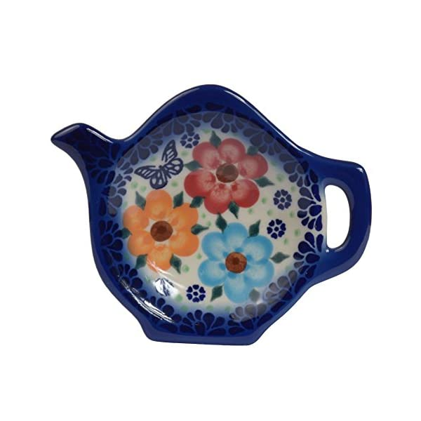 Traditional Polish Pottery, Handcrafted Ceramic Teapot-Shaped Tea Bag Tidy Holder or Spoon Rest, D.10cm, Boleslawiec Style Pattern, H.301.Meadow