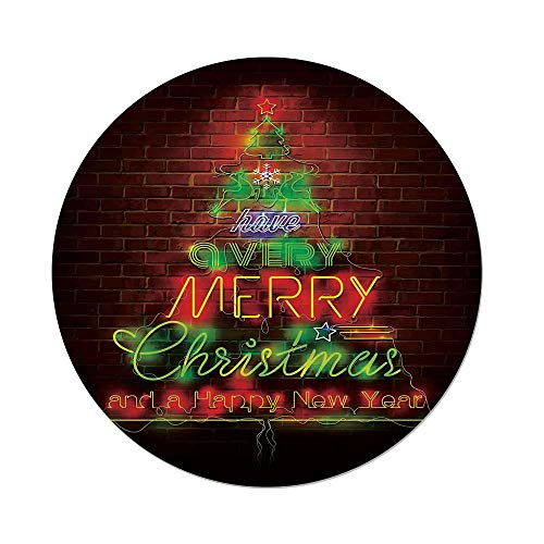 iPrint Polyester Round Tablecloth,Christmas,Neon Lights Sign Have a Merry Xmas Happy New Year Phrase Against The Wall,Burgundy Green,Dining Room Kitchen Picnic Table Cloth Cover Outdoor Indoor ()
