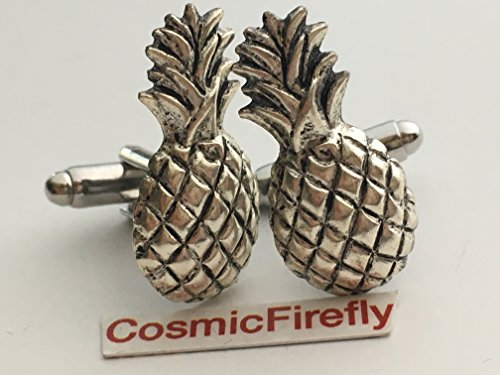 Silver Plated Pineapple Cufflinks Handcrafted Steampunk Lucky