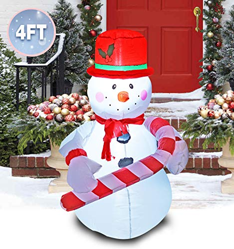 PARAYOYO 4 Ft Inflatable Christmas Snowman Hold a Candy Cane Decoration Inflatables for Indoors Outdoors Home Yard Lawn Garden Decor