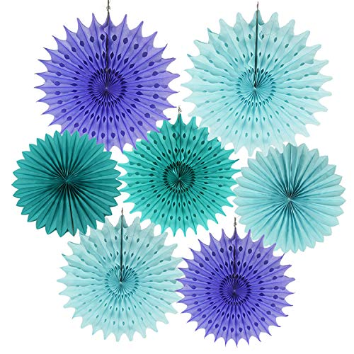 Mermaid Baby Shower Decorations Aqua Blue Teal Purple Tissue Paper Fan/Summer Party/Beach Party/Tropical Party/Under The Sea Party Tissue Paper Pom Pom Flower/Mermaid Party Birthday -