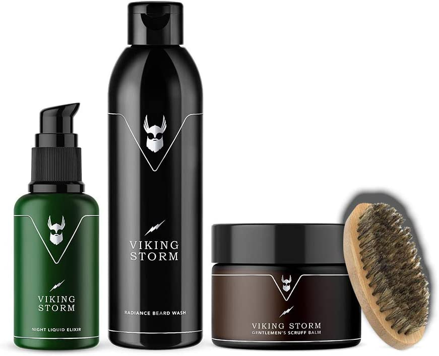 The Beard Struggle Starter Kit Viking Storm – para el cuidado de la barba y el cuidado de la barba con bálsamo exfoliante, lavado de barba, aceite de noche, 100% natural y