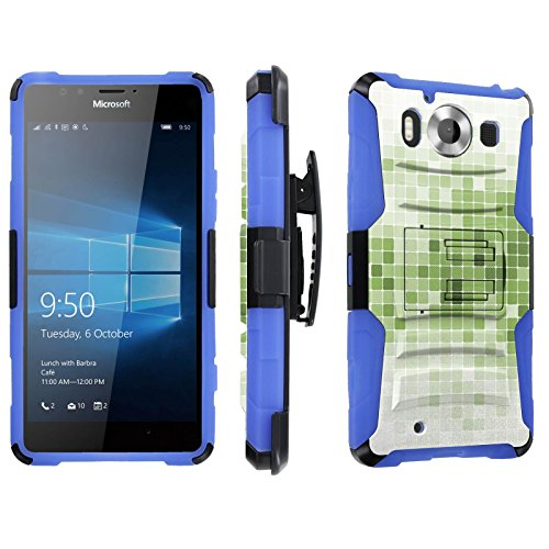 Photo - [SkinGuardz] Case for Microsoft Lumia 950 [Heavy Duty Ultra Armor Tough Case with Holster] - [Mosaic-Wite Green]