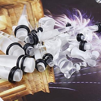Juego completo de expansores tapers con tapones para las orejas, estilo marmolado color blanco y transparente, 18 unidades: Amazon.es: Joyería