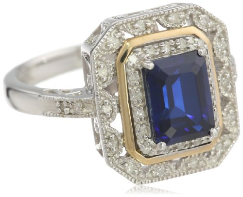 Sterling Silver and 14k Yellow Gold Sapphire and Diamond Ring, Size 7 ()