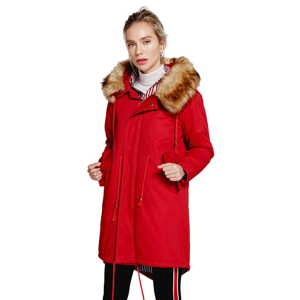 Leomodo Women Winter Hooded Thick Cotton Warm Jacket Fashion Long Wadded Coat Outwear Red by Leomodo