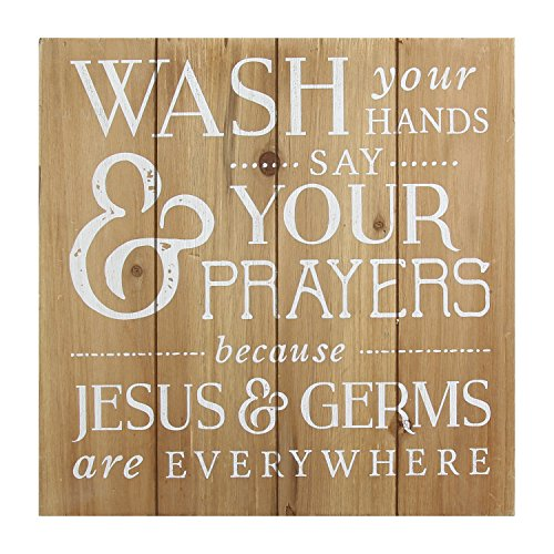 S11582 Wash Your Hands/Say Your Prayers Bath Wall Art, Light Natural Wood/White ()