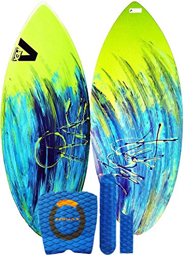 Skimboard / Wakesurf Board, Fiberglass/Carbon Fiber Avac by Apex, 100 to 160lbs, Choose Size/Design, Bundled with Fedmax Ultimate Tips and Tricks Guide, Skim Board for Kids/Adults. Design 2, 46 In.