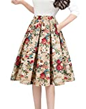 Tandisk Women's Pleated Vintage Skirt Floral Print A-line Midi Skirts with Pockets Gold Flower M