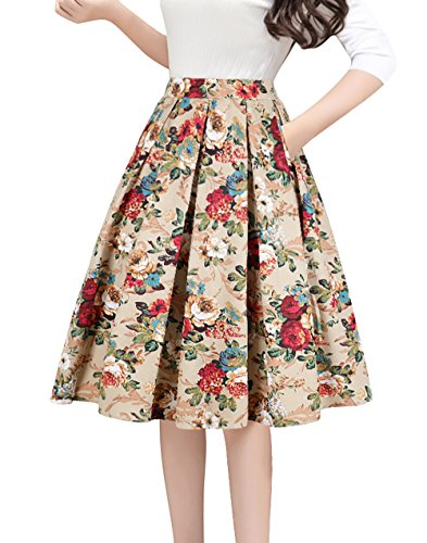 Tandisk Women's Pleated Vintage Skirt Floral Print A-line Midi Skirts with Pockets Gold Flower L