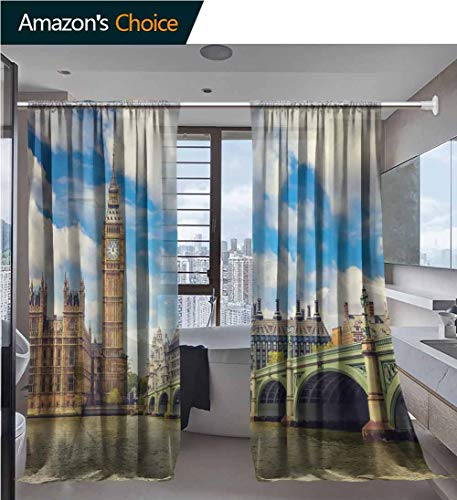 vanfanhome Home 2 Panels Window Sheer Curtains, View of Ponte Vecchio Bridge Florence Italy Printing, Voile Panels for Bedroom Living Room, Rod Pocket Curtains, 54 x 63 Inch/Panel