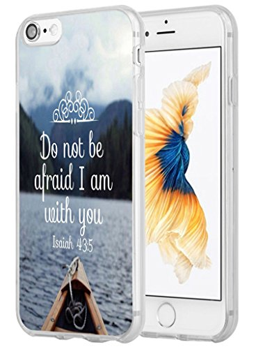 8 Case,7 Case Bible Verse,Hungo Soft TPU Silicone Protective Cover Compatible with iPhone 7/8 Bible Christian Sayings Do Not Be Afraid I Am with You Isaiah 43:5