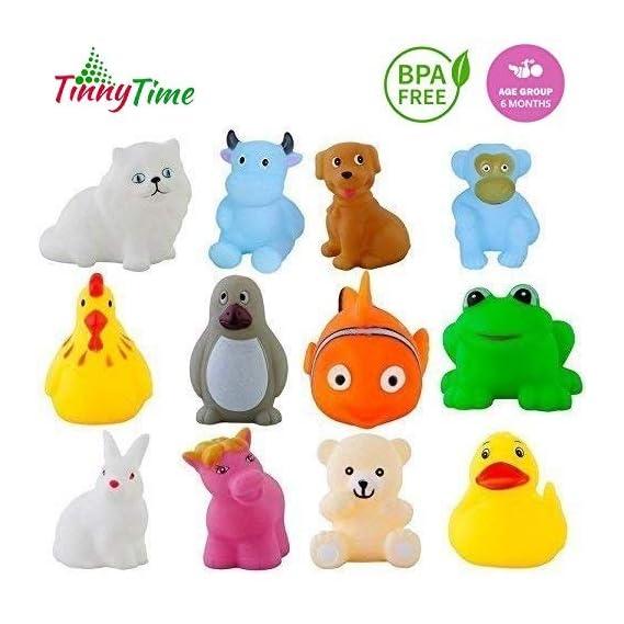 Tinny Time Chu Chu Bath Toys for Baby Non-Toxic Toddler Set Multi Colour (12pcs Bath Toys)