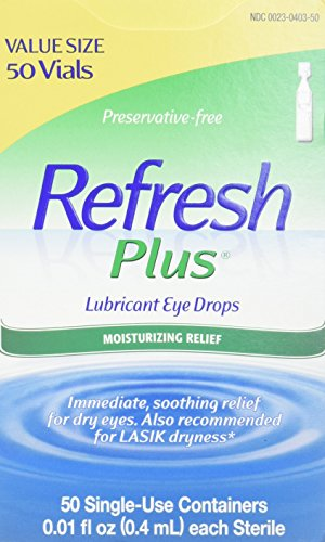 Refresh Plus Lubricant Eye Drops, 50 Single-Use Containers, 0.01 fl oz (0.4mL) Each Sterile ()
