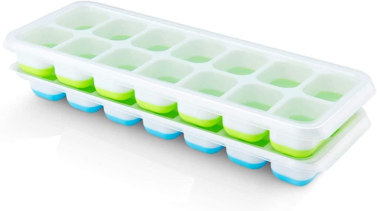 Pritogo Cubitera con 14 compartimentos (paquete de 2 unidades) – Cubitera con tapa, verde/azul, apilable, certificado LFGB (2 unidades)
