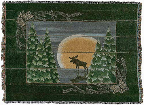 Pure Country Weavers - Moonlight Moose Woven Tapestry Throw Blanket with Fringe Cotton. USA Size 54x70 -