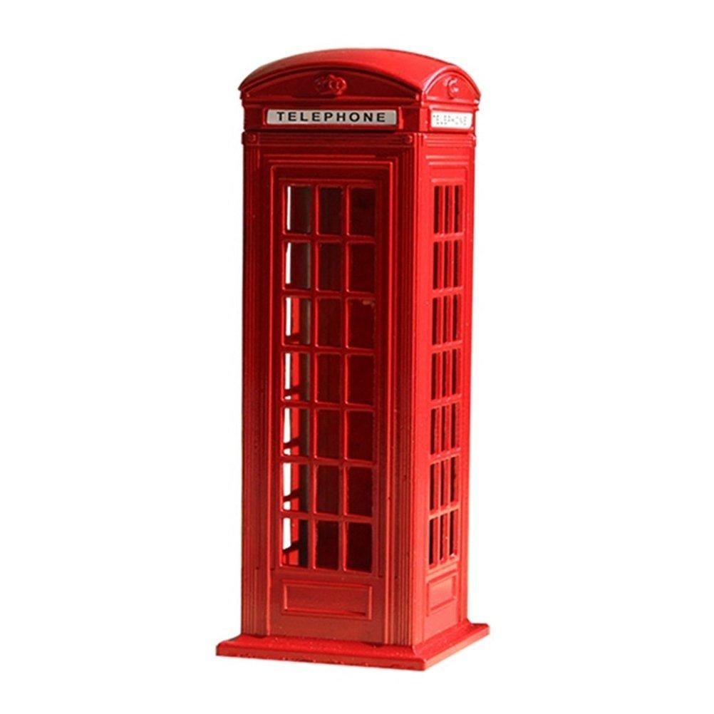 Toyvian 7 '' Londra Cabina telefonica rossa Salvadanaio | Mini Postbox Stoccaggio moneta, arredamento vintage