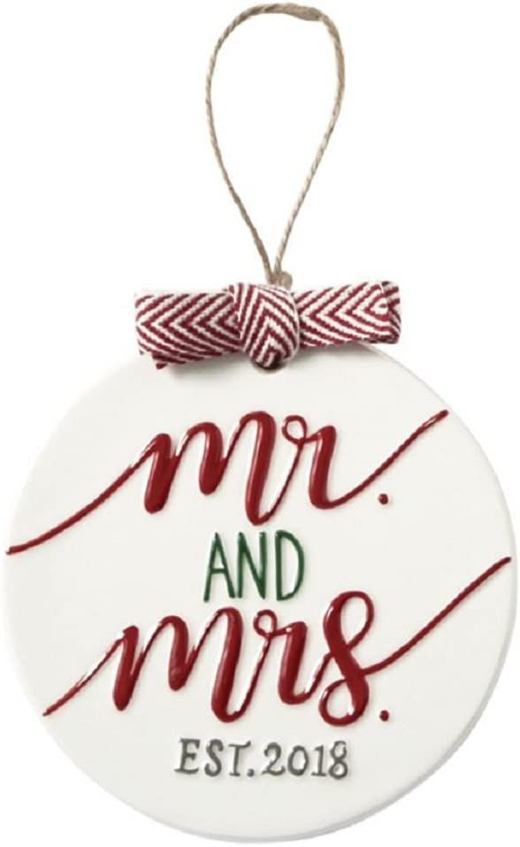 Mud Pie Mr. and Mrs. Ceramic Ornament Home Decor, 46700007M