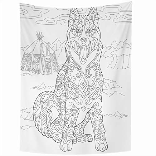 (Ahawoso Tapestry 60 x 80 Inches Purebred Asian Alaskan Malamute Siberian Husky Eskimo Sleigh Dog Adult Black White Breed Camp Wall Hanging Home Decor Tapestries for Living Room Bedroom Dorm)