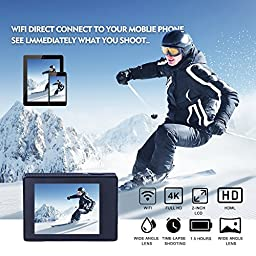Sports Camera Sport Video 4K WIFI Action Cam 16 MP Underwater Camcorder HD 1080P and 2 Batteries 170° Wide-Angle Black