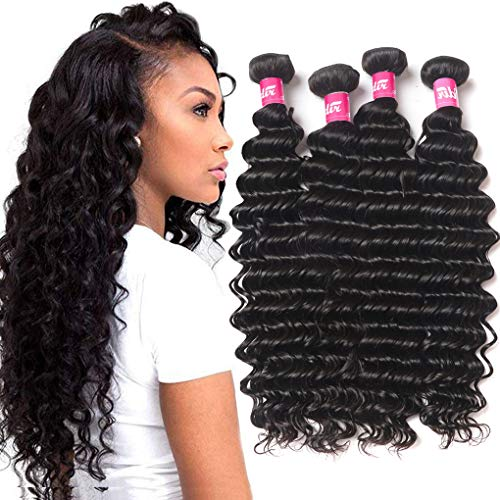 Odir Brazilian Human Hair Deep Wave 4 Bundles 24 26 28 30 Unprocessed 9A Deep Curly Virgin Human Hair Weave Bundles Deep Wave Natural Black Color