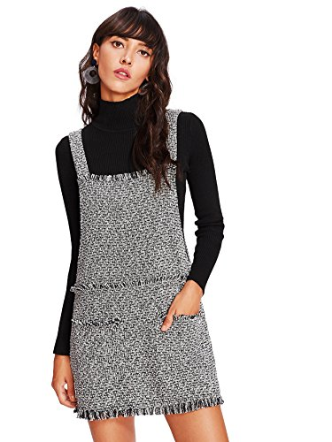 Tweed Mini Dress (Romwe Women's Cute Straps Sleeveless Pinafore Overall Short Dress With Pockets Black and White S)