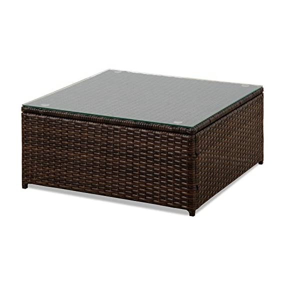romatlink 7 Pieces Outdoor Rattan Patio Furniture Set, Modern Wicker Conversation Sectional Sofa Chairs with Cushioned Couch & Glass Top Coffee Table, Perfect for Garden Lawn Poolside Backyard - [Multiple layouts available for you]: The 7 pcs Rattan wicker sectional comes with 2 corner sofas, 4 Middle sofas, and 1 Coffee Table; cushions and throw pillows are also included to complete this set. Choose from a variety of different layouts and combinations to find your optimal configuration. [Modern & comfortable]: modern design outdoor sectional sofa with high-quality thickened Seat and back cushions take you more extraordinary comfort, Enjoy your leisure time whatever sitting or lying, suitable for entertaining your neighbors or friends. [Easy cleaning]: fade resistant cushions for easy to rinse. Simply zip off the machine washable cushion covers and give them a quick wash to have them looking brand new. - patio-furniture, patio, conversation-sets - 51rurM9wT%2BL. SS570  -