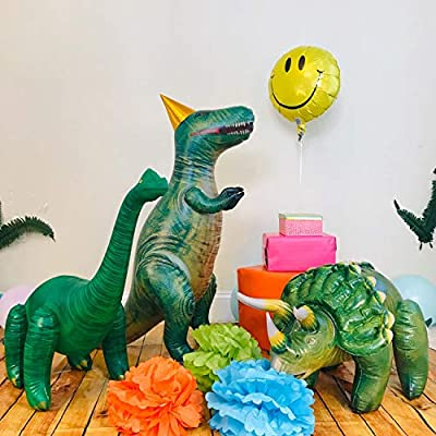 Jet Creations 3-pk Dinosaur Triceratops Tyrannosaurus Brachiosaurus Inflatable, Party Supplies Favors Decorations Pool Toys for Boys and Girls, JC-TBT: Toys & Games