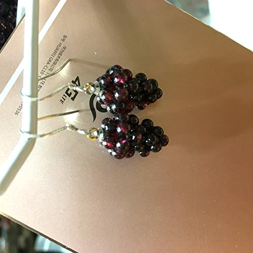 usongs Natural crystal grape garnet burgundy earrings ear hook earring 925/earrings girlfriend gift