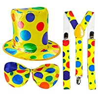 Multicolour Oversize Yellow Polka Dot Clown Top Hat + Elasticated Bow Tie + Braces