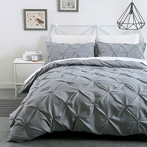 Pinch Pleat Pintuck Duvet Cover Set,Duvet Cover King,3 Pieces Decorative Stylish Brushed Microfiber Bedding Set With Zipper,More Thicker Fabric 110GSM (King-Light Grey)