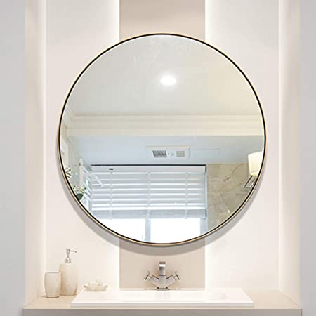 Large Round Bathroom Mirror Brushed Copper Wall Mirror High Vintage Decorative Mirror For Bedroom Living Room Dressing Room Hotel Makeup Mirror Vanity Mirrors Size 70cm 27 6in Amazon Co Uk Kitchen Home