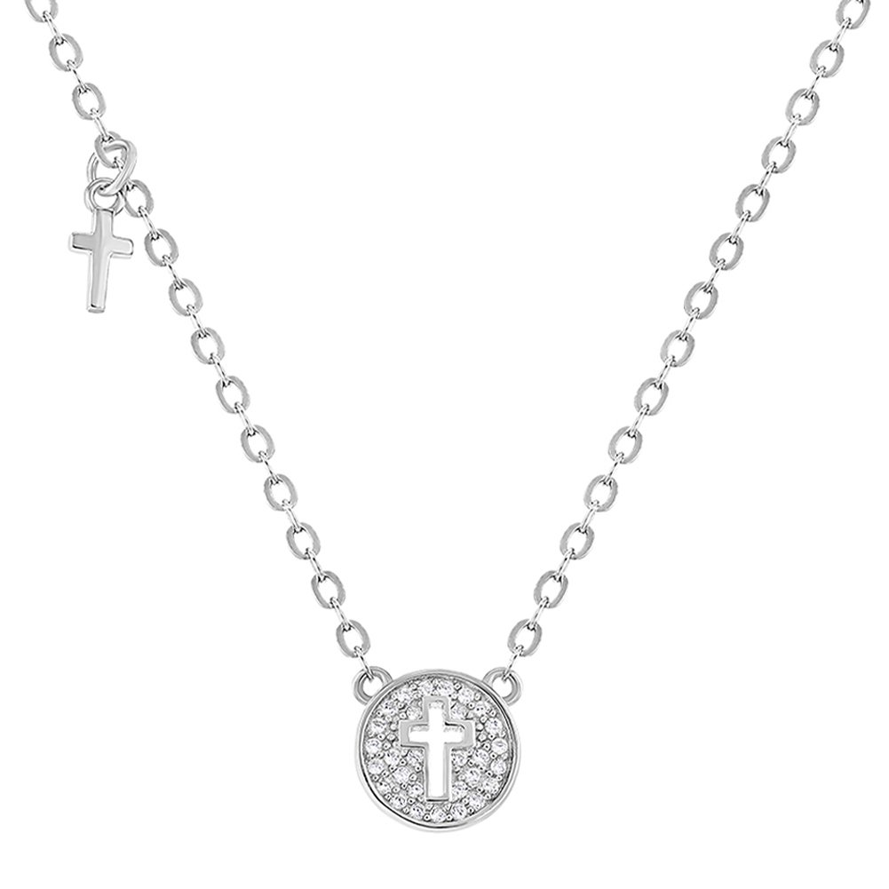 "In Season Jewelry 925 Sterling Silver Small Cross Medal Necklace for Babies and Kids Clear CZ 16"" SS-06-00051"