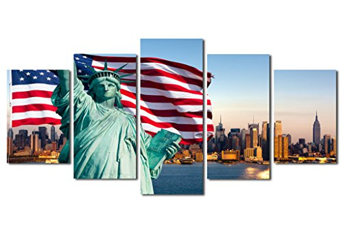 NY Canvas Wall Art, SZ 5 Piece Liberty Statue with US