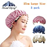 Shower Cap-Women Waterproof Shower Bath Cap, Vinyl material, elastic band, extra large but won't fall off your head,Adult, / Teen (blue+yellow+red)