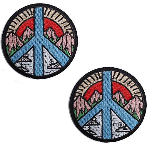 AXEN Mountain and River Patches Embroidered Iron-on Badge Patches, Iron On Sew On Emblem Patches Accessories, Pack of 2