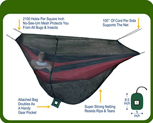 No See Um Mesh (Hammock Bliss Mosquito Net Cocoon -The Ultimate Bug Screen Mossy Netting Canopy For Your Camping Hammock With Insect Proof No See Um Mesh - Make Hammock Camping A Bug Free Experience)