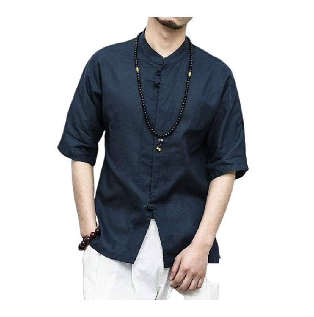 HEFASDM Mens Linen Chinese Style Stand Collar Oversize Loose Casual Shirt