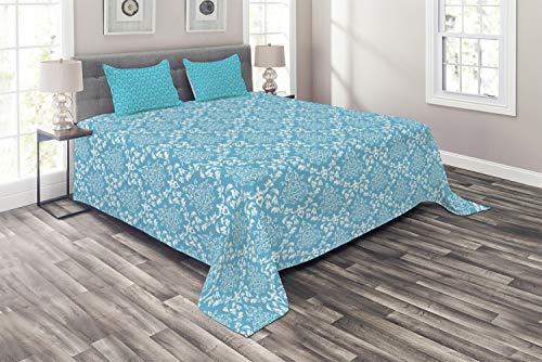 Ambesonne Blue and White Coverlet, Pattern with Antique Damask Vintage Venetian Curly Leaf Motifs Tile, 3 Piece Decorative Quilted Bedspread Set with 2 Pillow Shams, King Size, Sky Blue and -
