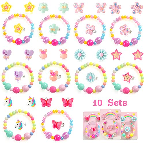PinkSheep Beaded Bracelets Ring Clip On Earrings for Kids, 10Pack 30pc, Girl Unicorn Butterfly Flowers Ring, Party Gifts