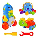 3 Set Take Apart Toys, 3D Animal Puzzles for Kids, Get Three Fun Toddlers' Toys (Penguin, Tortoise, Octopus) with FREE Tools and Storage Bags, Best for Children Age 3+, Awesome Gift for Girls and Boys