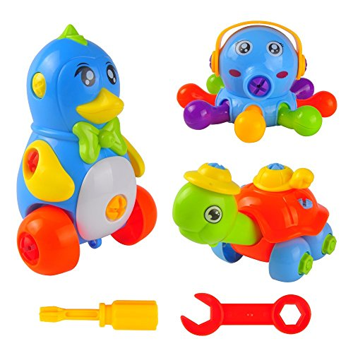 Take Apart Toys 3 Animal Set, Stem Educational Toys for Boys and Girls, Three Fun Pull Apart Toddlers' Toys (Penguin, Tortoise, Octopus) w/ Screwdriver Tools and Storage Bags, Best for Children Age 3+
