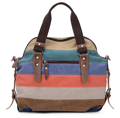 Canvas Stripes Handbags Shoulder Fashion C Tote Hobo Top Bags Handle Women Block Vintage Bagtopia Crossbody Stripes 5XqTY