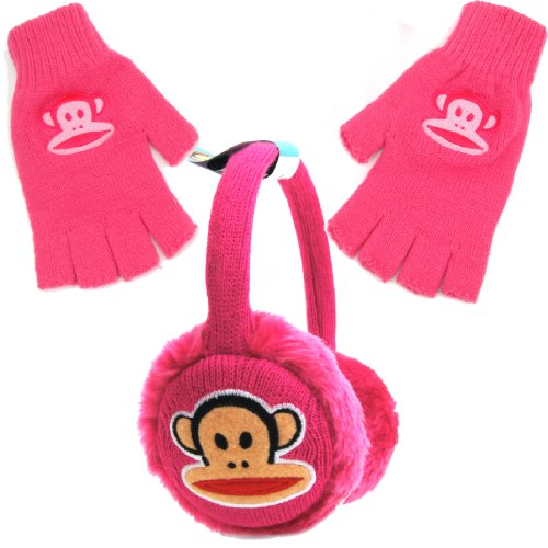 Paul Frank Julius Monkey Knitted Earmuff and Fingerless Glove Set for Girls - Pink