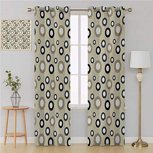 Geometric Circle Grommet Curtain Best Home Fashion Wide Width Thermal,Disc Shaped Curve Figures with Interior Hoops on Beige Vintage Inspired Light Curtain 108 by 84 Inch Multicolor ()