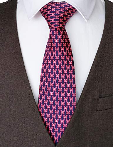 100% Silk Ties for Men Handmade Neckties with Butterflies Printed+Gift box