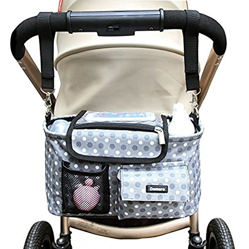 Damero Stroller Organizer All-in-One Insulated Storage Bag with Shoulder Strap and Stroller Strap, Spacious and Neat, Great for Baby Shower Gift-New Version by Damero